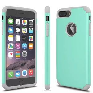 Turquoise and Gray Slim Rubber iPhone Case